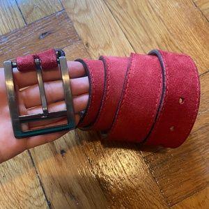 Red suede genuine leather men's belt